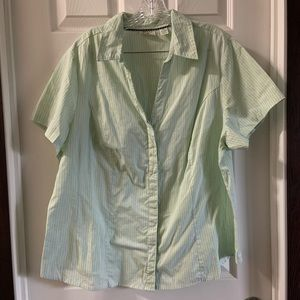 Riders Light Green/Blue Striped SS button down top